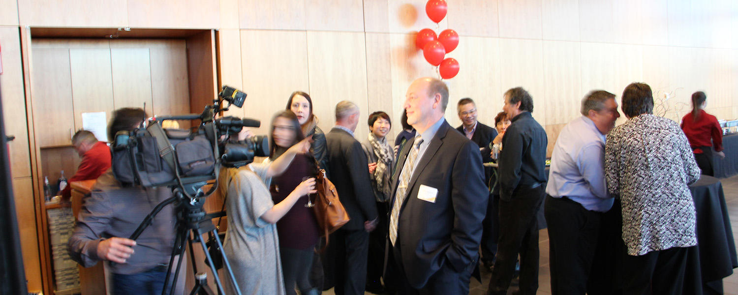 media event at a 50th anniversary celebration in Lethbridge, Faculty of Social Work, University of Calgary