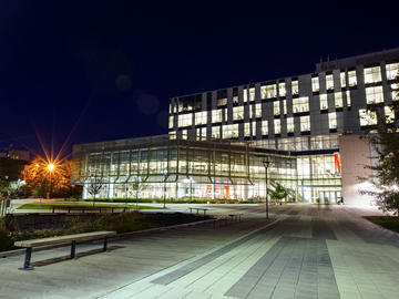 Night time shot of TFDL library UCalgary campus